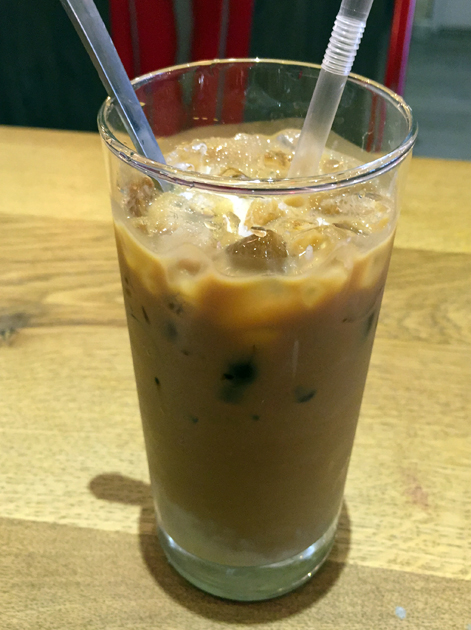 iced Vietnamese coffee at bun cha hoxton