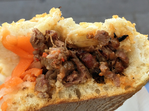 lemongrass beef banh mi at carrots and daikon