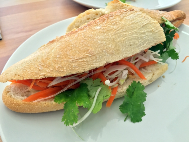 lemongrass chicken banh mi at carrots and daikon