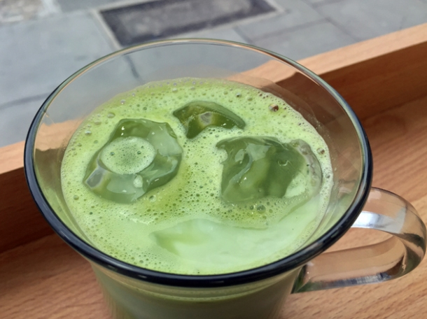matcha latte at carrots and daikon