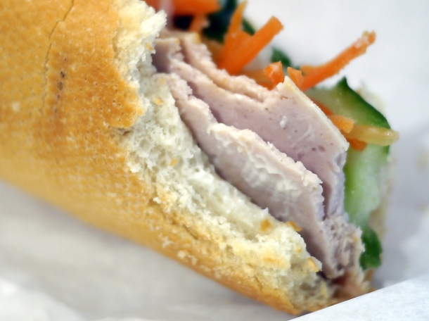 pork roll banh mi at viet baguette