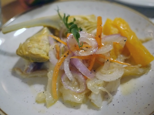 raw cod, orange and artichoke salad at morada brindisa asador