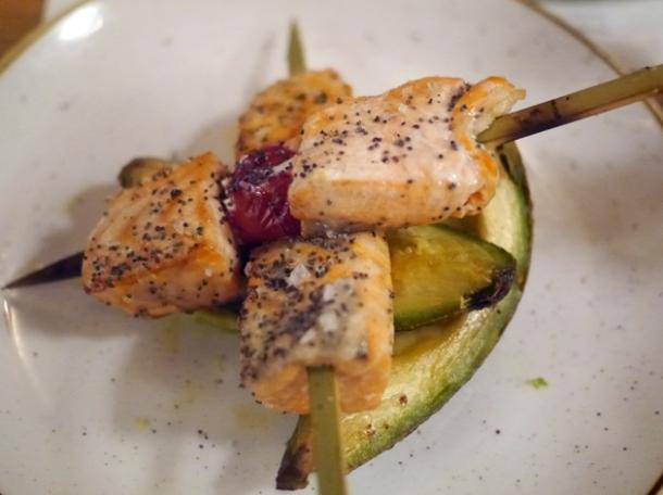 salmon pincho and avocado at morada brindisa asador