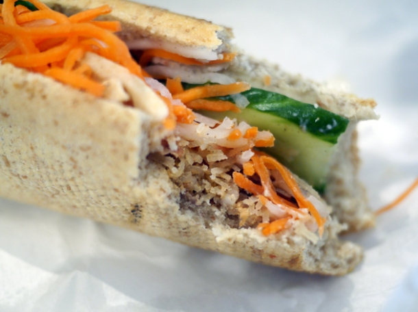 shredded pork banh mi at viet baguette