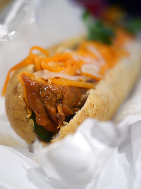 spiced chicken banh mi at viet baguette