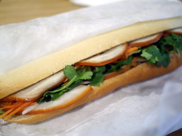 spiced pork banh mi at viet baguette