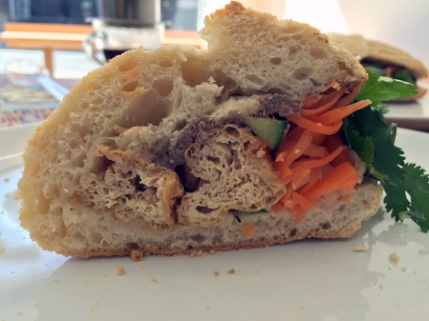 tofu banh mi at carrots and daikon