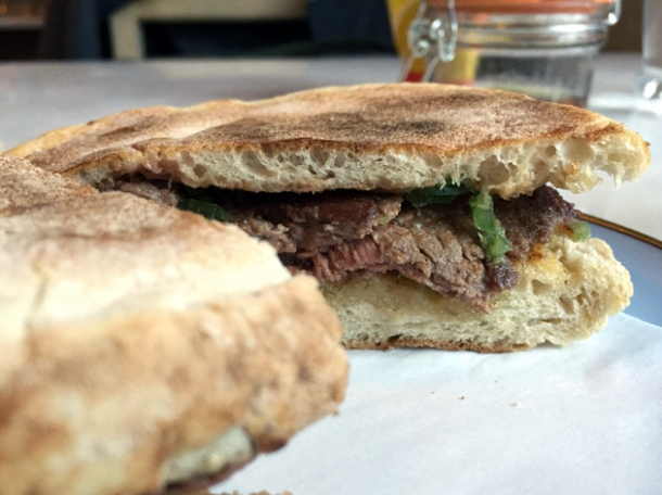 beef sandwich at taberna do mercado