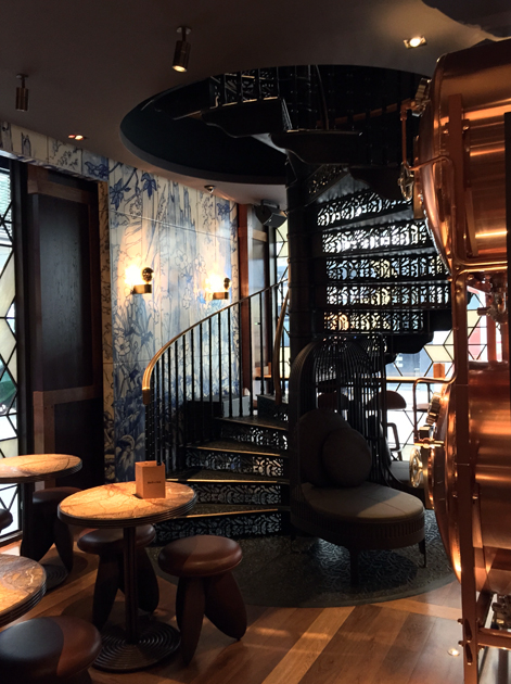 beer vats and spiral staircase at the duck and rice