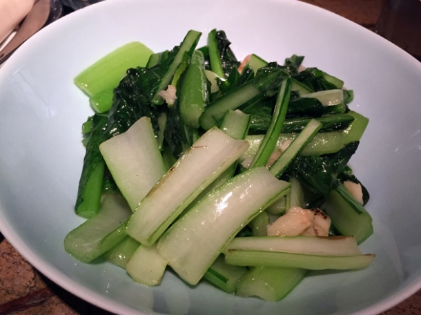 choi sum with garlic at the duck and rice