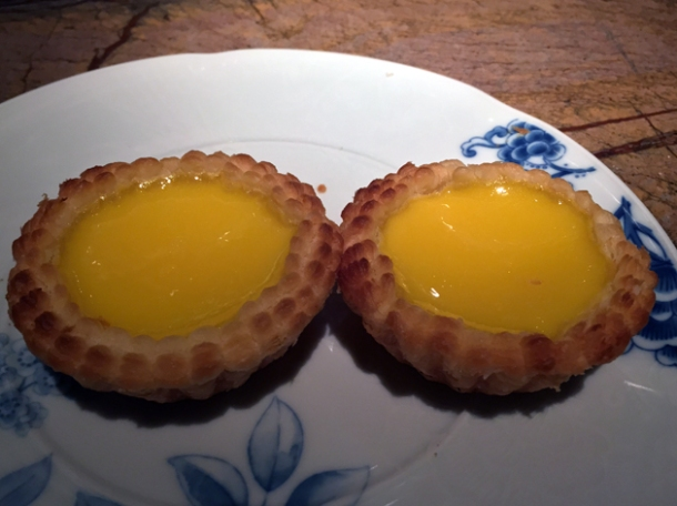 egg tarts at the duck and rice