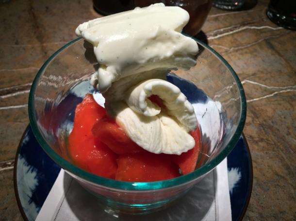 papaya and vanilla ice cream at the duck and rice