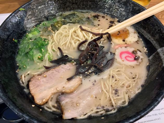 tonkotsu ramen with thin noodles at muga