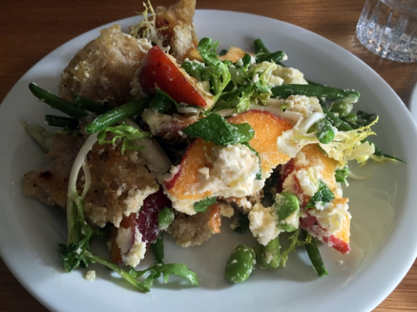 peach panzanella at oldroyd