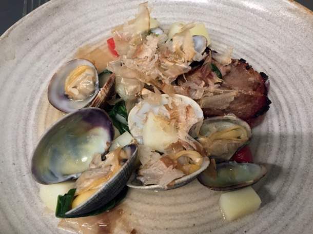 pork, clams and bonito flakes at pidgin