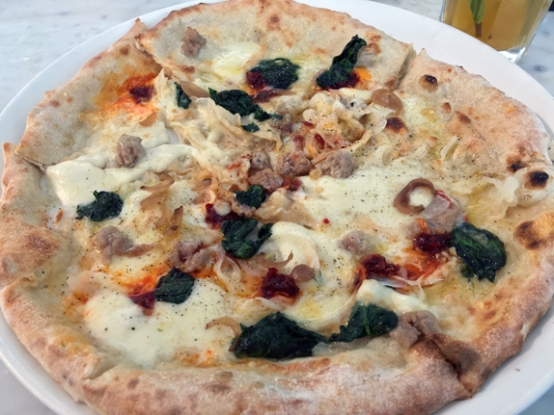 salsicca pizza at the perfectionists' cafe