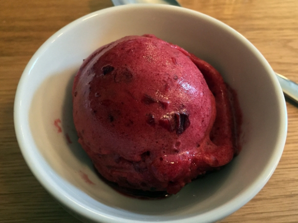 sour cherry sorbet at oldroyd