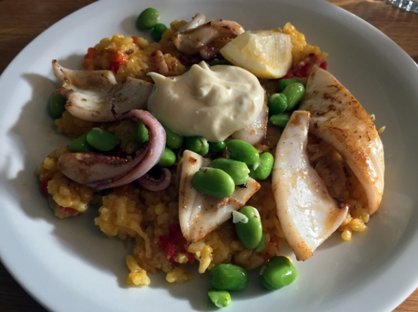 squid, confit duck and broad bean paella at oldroyd