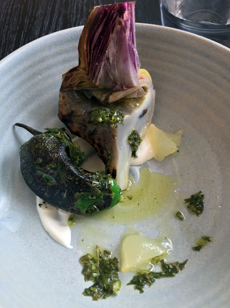 artichoke and padron pepper with curd and salsa at paradise garage