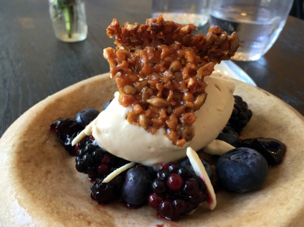 beer ice cream, blackberries and almond biscuit at paradise garage