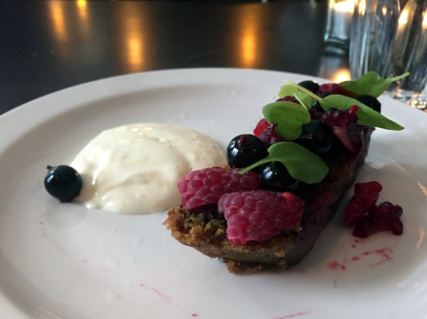 blackcurrant and beetroot cake with orange yoghurt at the newman arms
