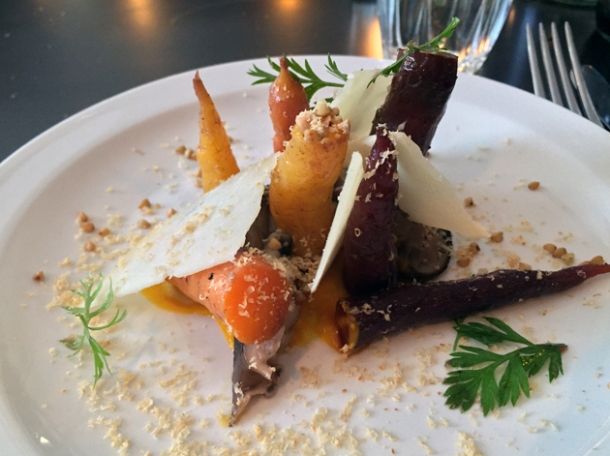 carrots, pickled shiitake, cheese and hazelnuts at the newman arms