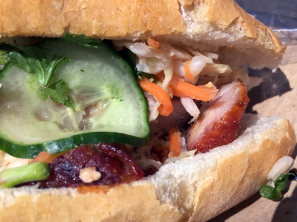 cha siu pork banh mi from vietnamese street food whitecross market