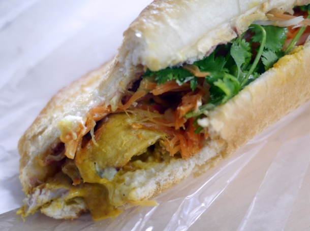 chicken satay Vietnamese baguette from banh mi town