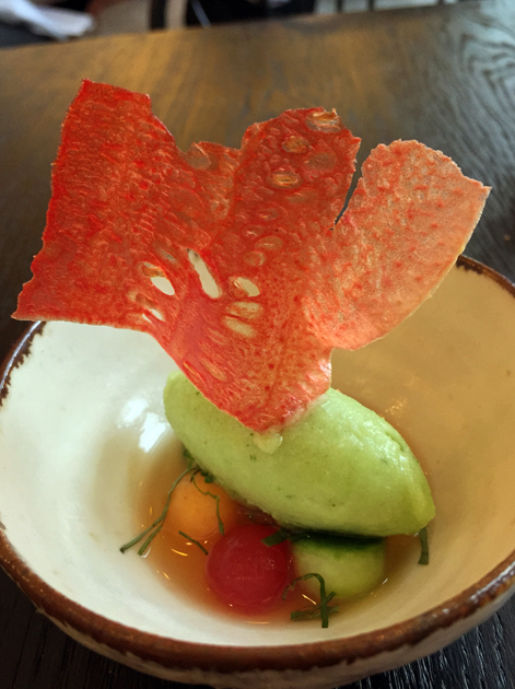 cucumber sorbet with melon and basil at paradise garage