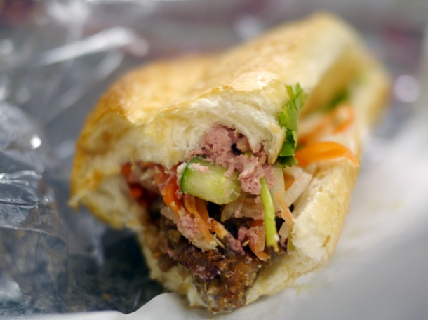 grilled pork and pate vietnamese sandwich from banh mi town