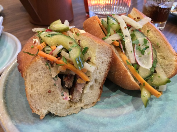 grilled pork belly and duck liver parfait banh mi at leicester house