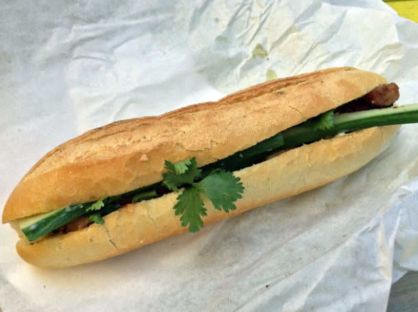 honey roast pork banh mi from banh mi bicycle