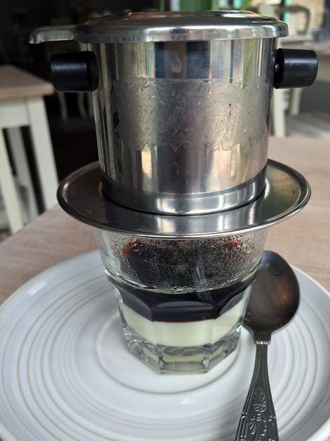 hot vietnamese coffee at little viet kitchen