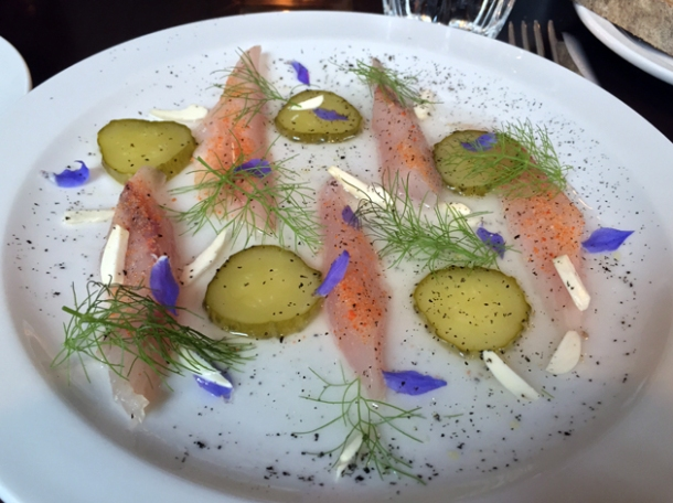 mackerel with gherkins and almonds at the newman arms