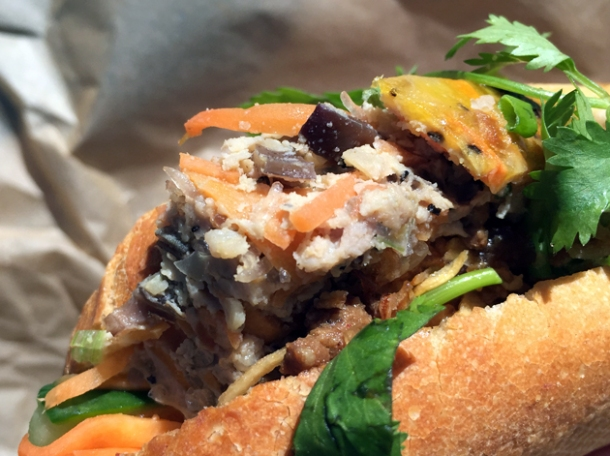 minced pork, carrot and water chestnut loaf banh mi from little viet kitchen