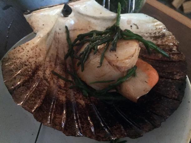 nduja scallops with samphire at rök