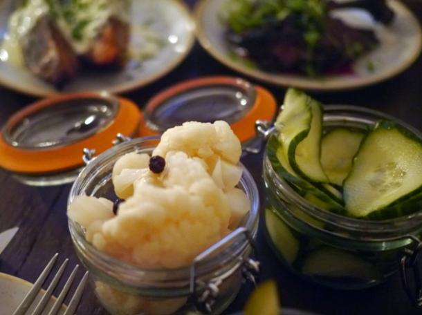 pickled cauliflower and cucumbers at rök