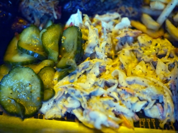 pickles and coleslaw at grillstock london