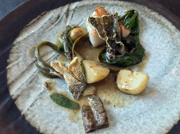 pollock, potatoes, seaweed and morels at garadise garage