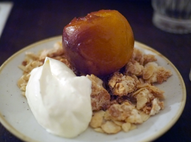 roasted peach dessert at rök