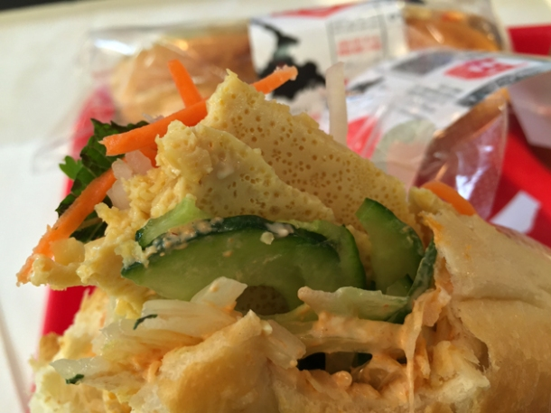 spring onion omelette banh mi at hop