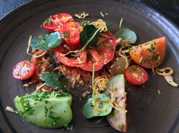 tomatoes, eel jelly and nasturtium at paradise garage
