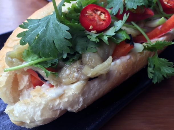 vegetarian banh mi at house of ho