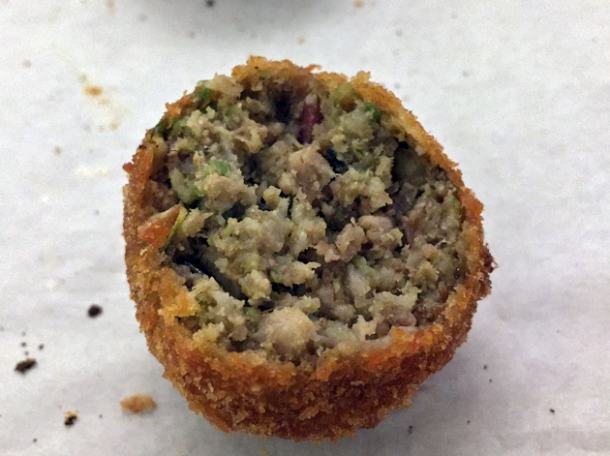 olive and mince arancini at vico