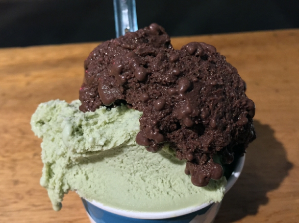 pistachio gelato and bitter chocolate gelato from gelupo at vico