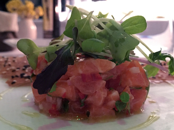 salmon tartar at milos london