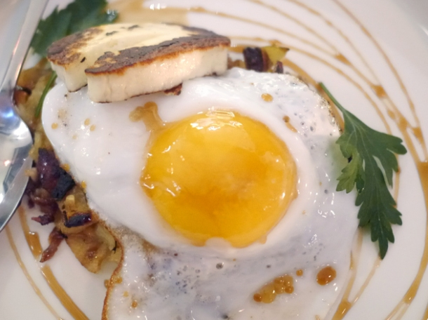 baked lamb fat potatoes, halloumi and fried duck egg at oklava
