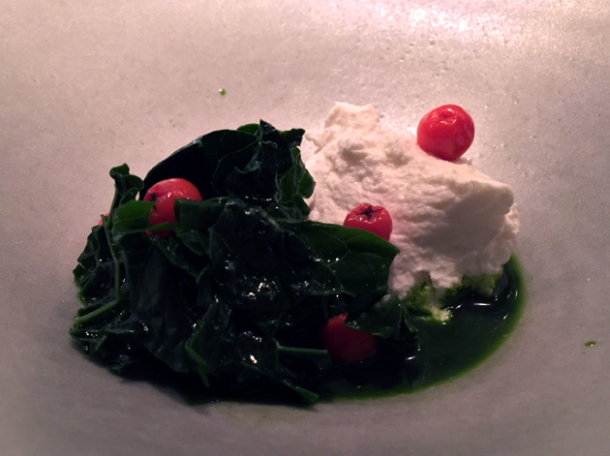 black kale and goat's cheese with rowan berries at nobelhart and schmutzig