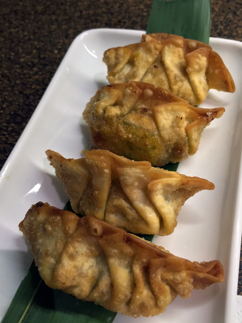 deep fried crab cream cheese gyoza at nanban