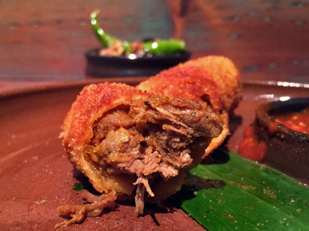 mutton rolls with tomato sauce at hoppers london